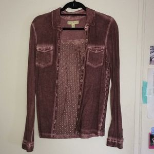 URBAN OUTFITTERS Purple Acid Wash Button Down Lace